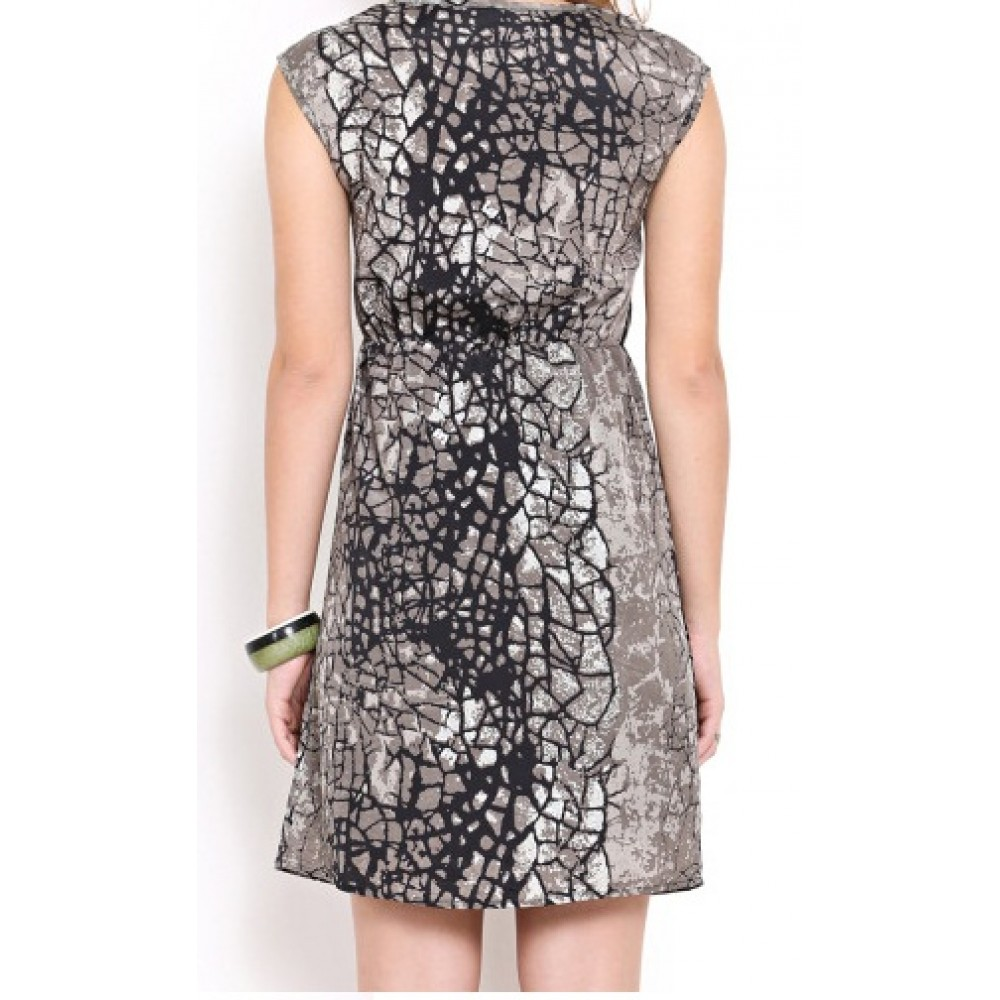 Lafacon-black-printed-a-line-dress