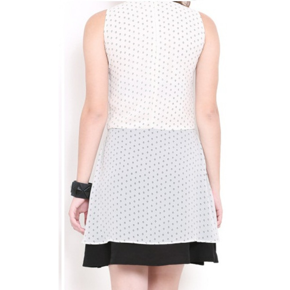 Lafacon-White-Printed-A-Line-Dress