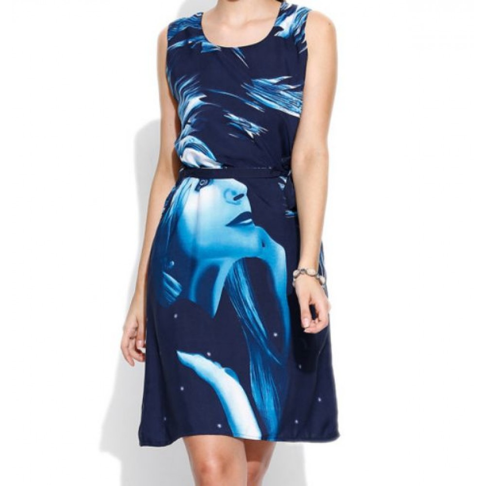 La  Facon-navy-printed-a-line-dress