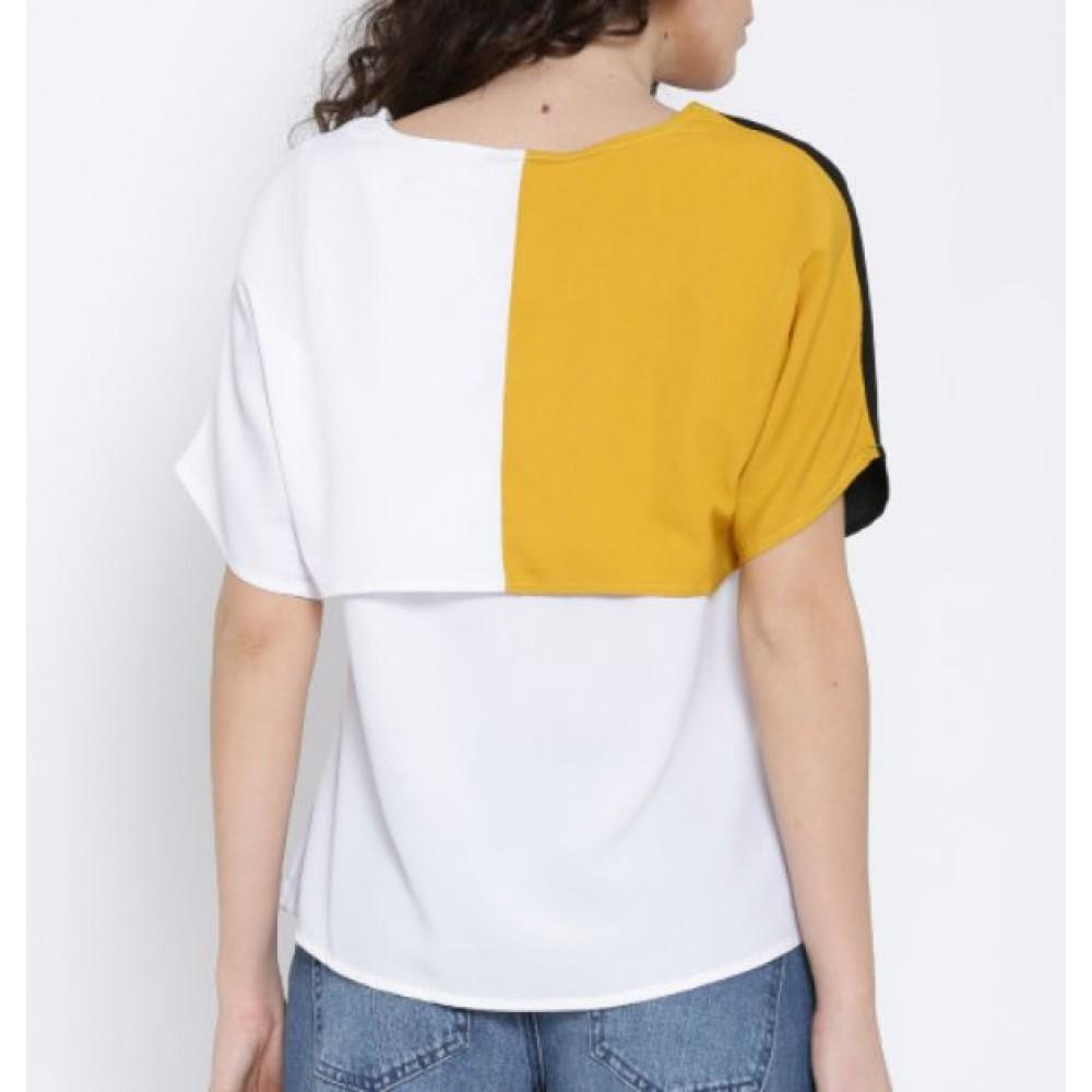 La  Facon-white--black-colourblocked-layered-top