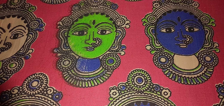 Cotton Kalamkari Handblock Saree Blouse/Kurti Fabric 100 cms Red Print