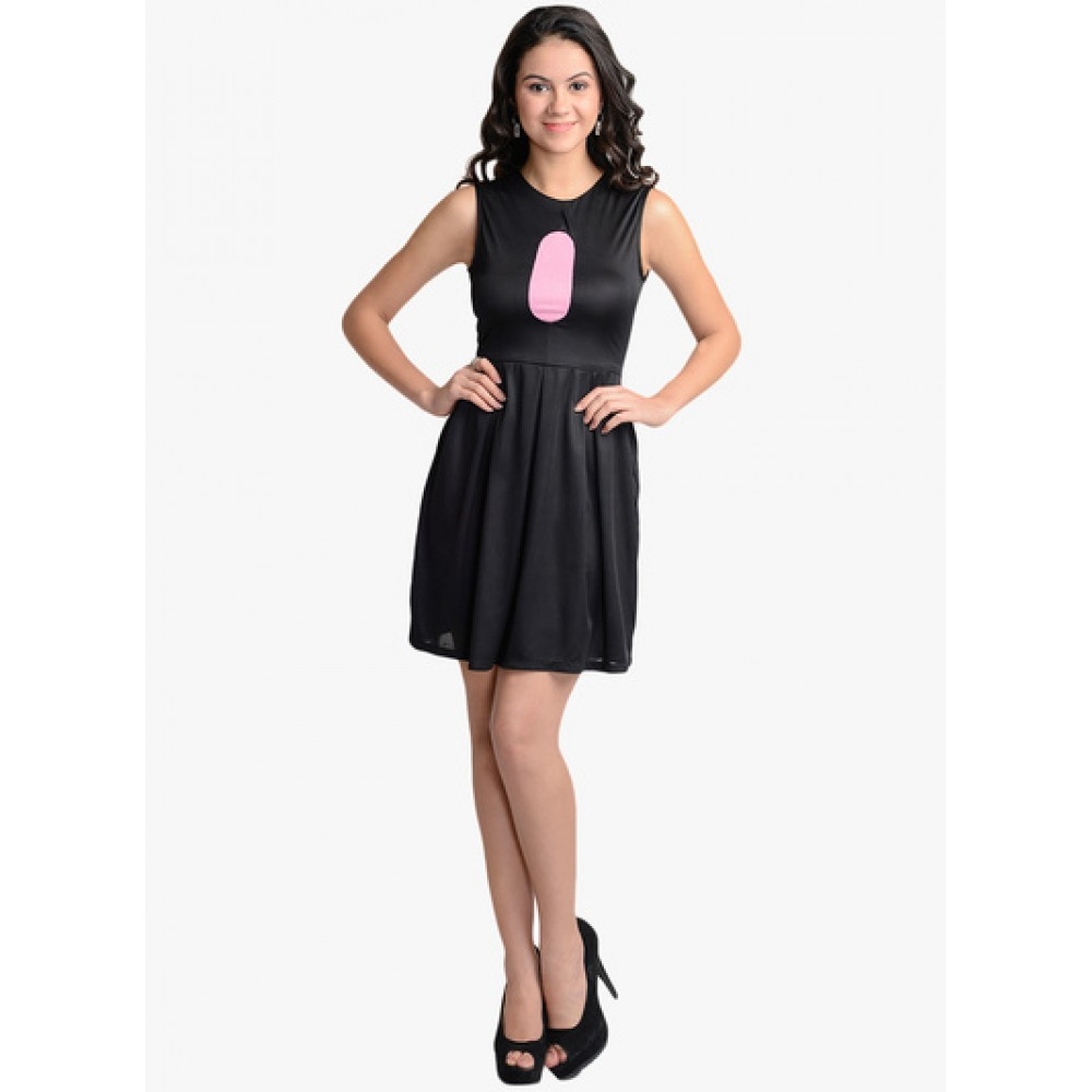 Lafacon-Black-Solid-Skater-Dress