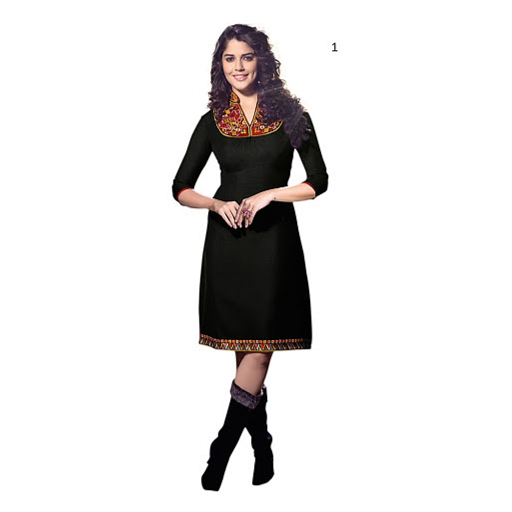 Lafacon Stitched Black Solid Linen Kurti