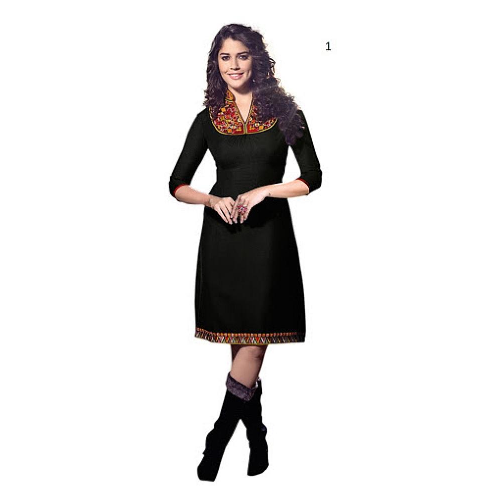 Lafacon Stitched Black Solid Linen Kurti