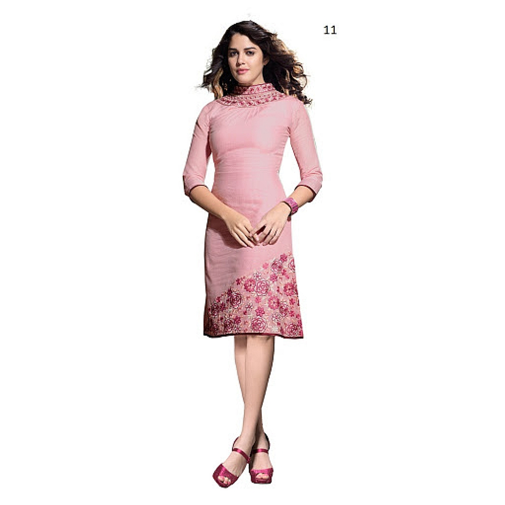 Lafacon Stitched Pink Solid Linen Kurti