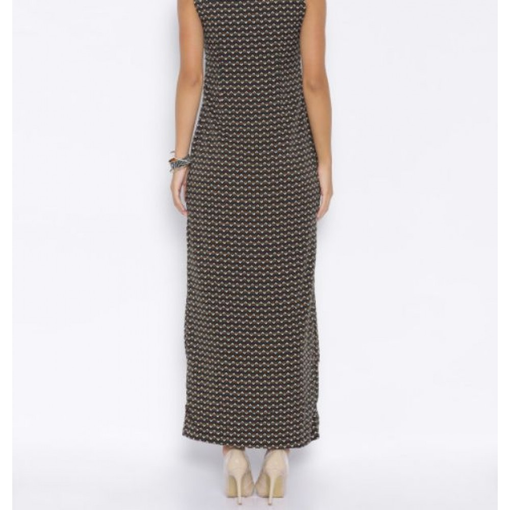 La  Facon-navy--olive-printed-polyester-maxi-dress