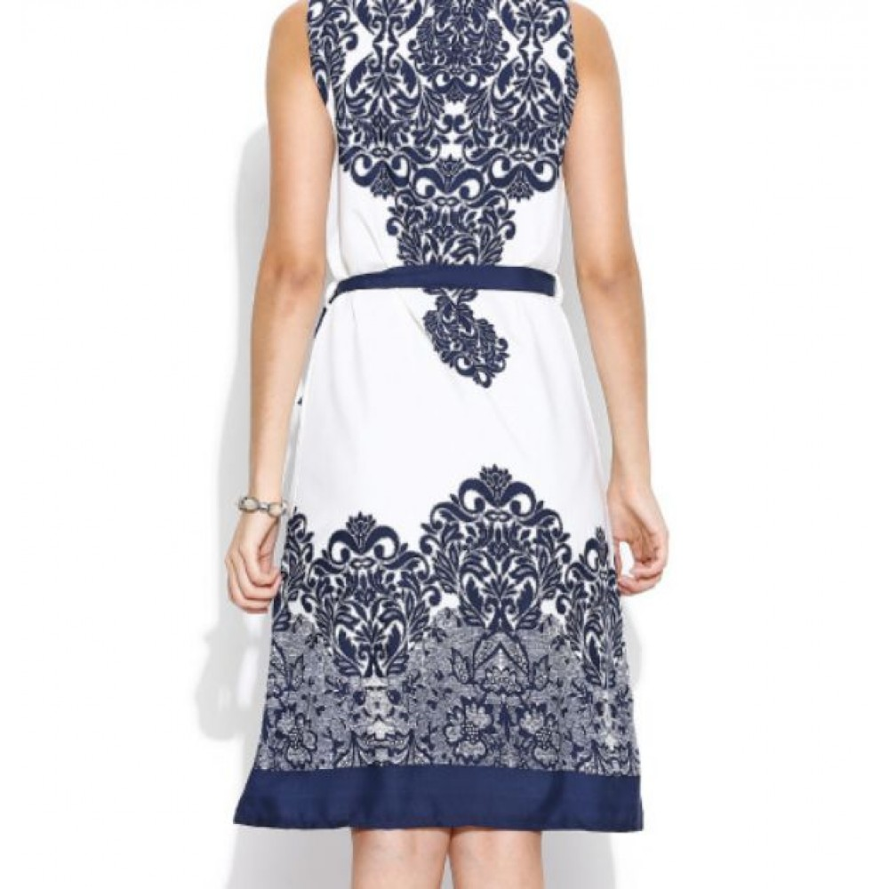 La Facon-off-white--navy-printed-shift-dress