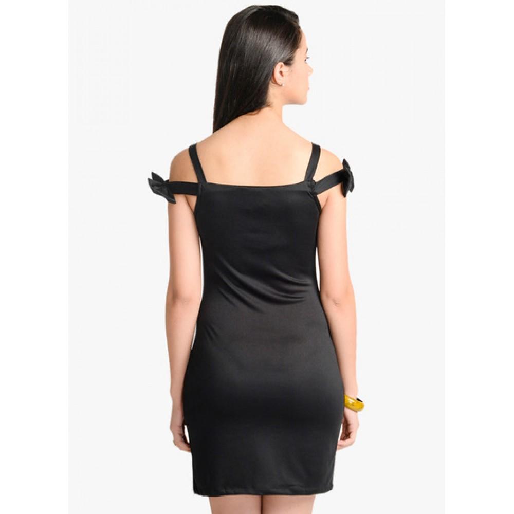 Lafacon-Black-Solid-Bodycon-Dress