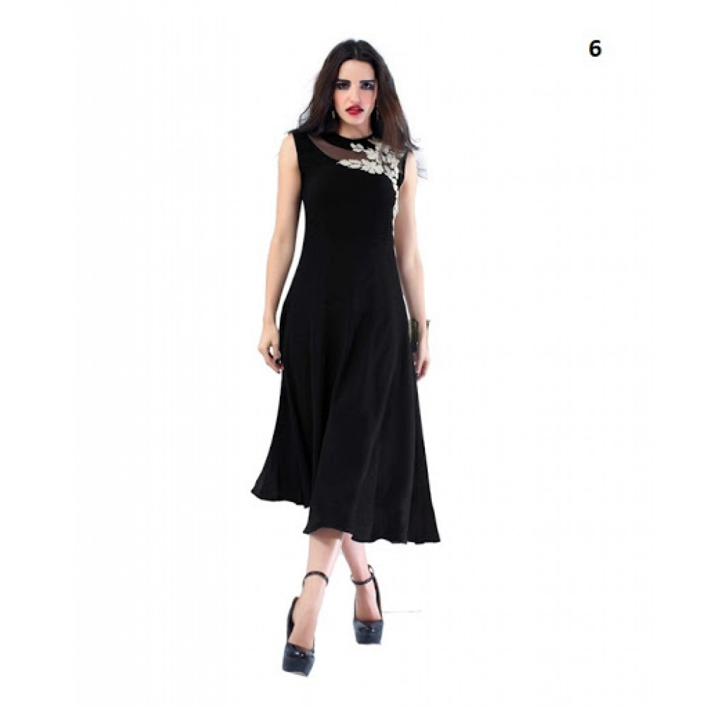 Lafacon Stitched Black Solid Georgette Kurti