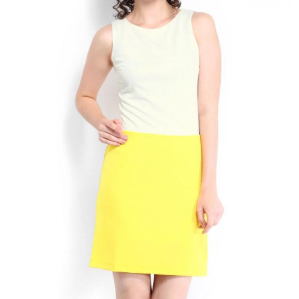 La  Facon-yellow--white-shift-dress