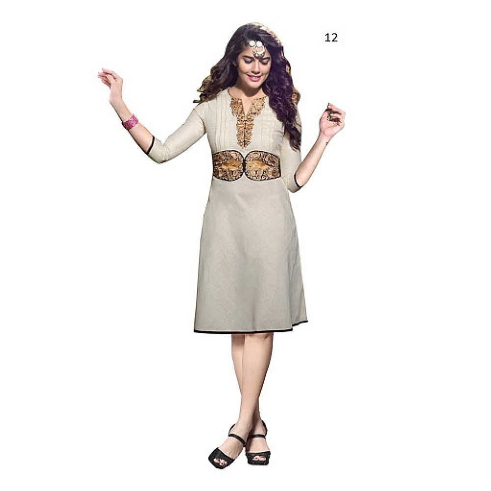 Lafacon Stitched Beige Solid Linen Kurti