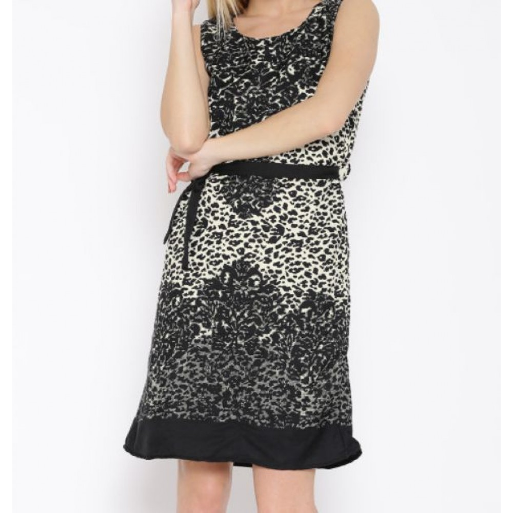 La  Facon-black--cream-coloured-printed-a-line-dress