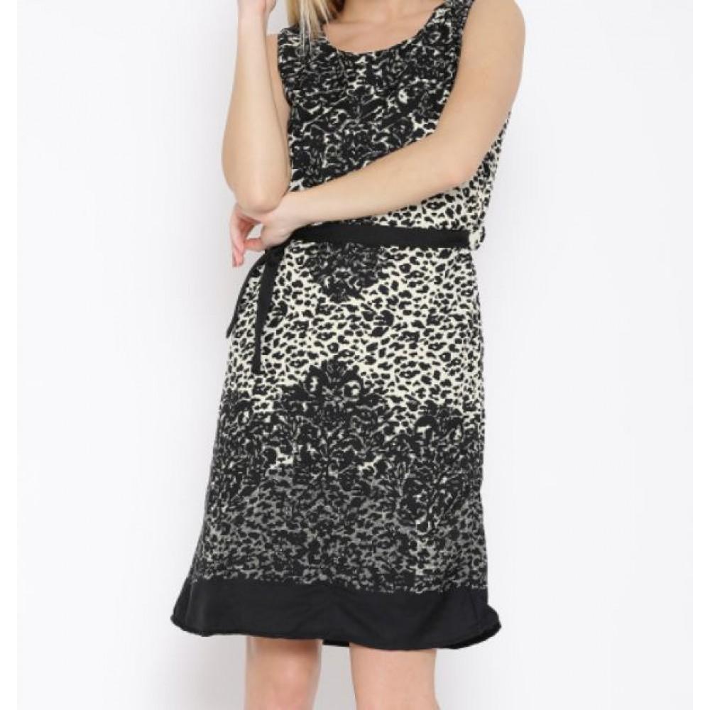 La  Facon-black--cream-coloured-printed-a-line-dress