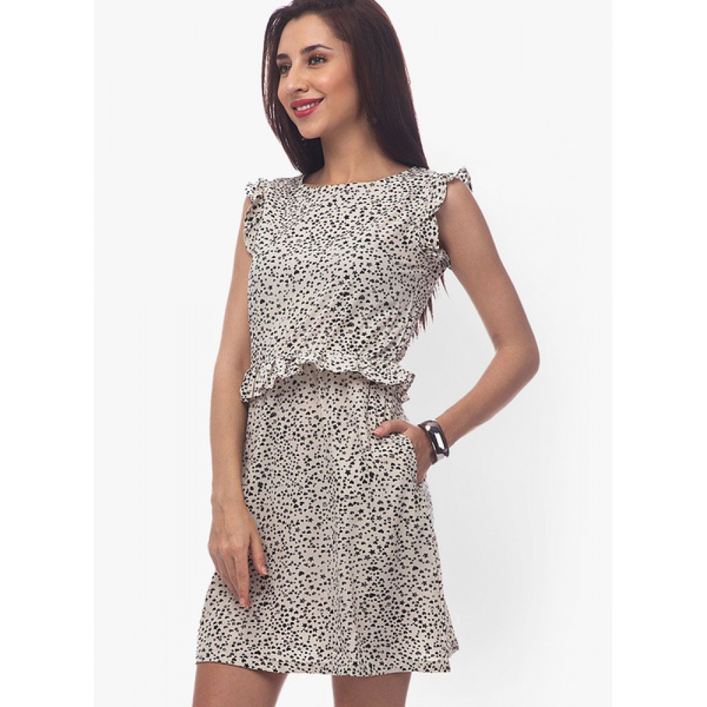 Lafacon-Black-Colored-Printed-Shift-Dress