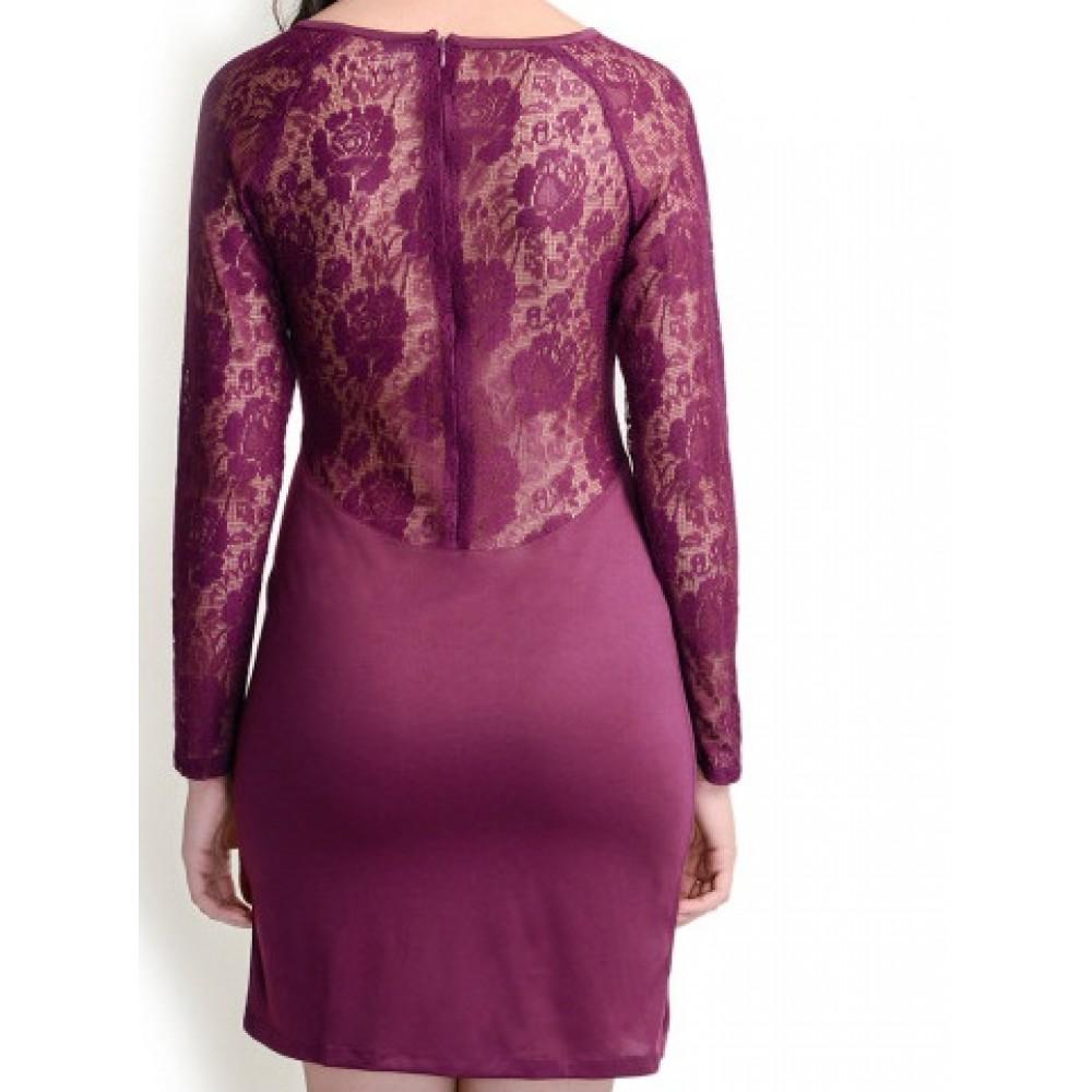 La Facon-burgundy-lace-sheath-dress