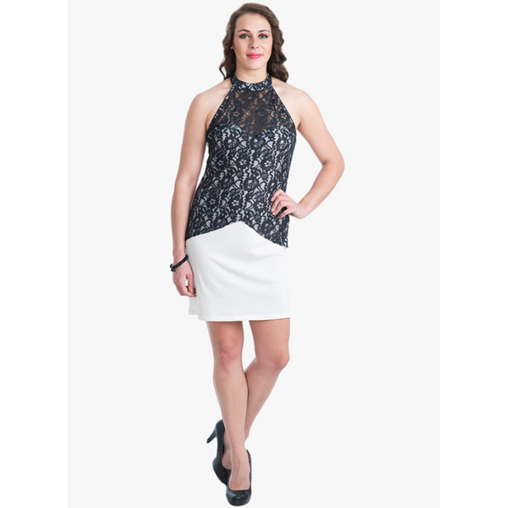 Lafacon-Black-Colored-Embroidered-Shift-Dress