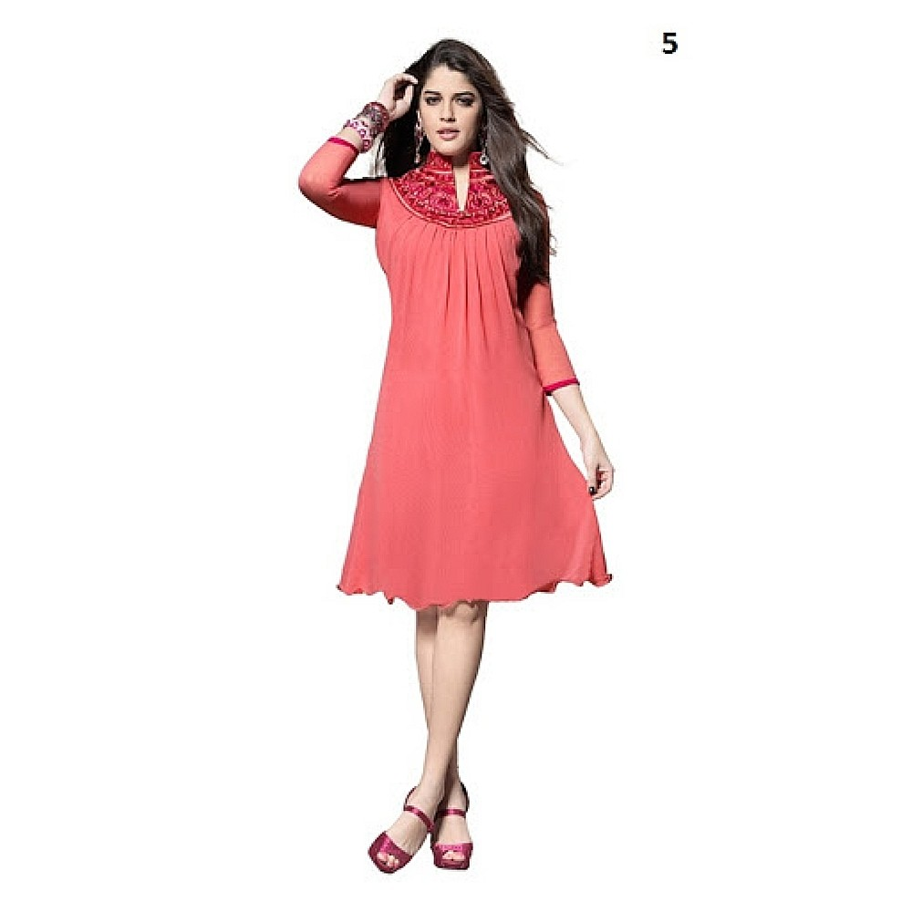 Lafacon Stitched Pink Solid Georgette Kurti