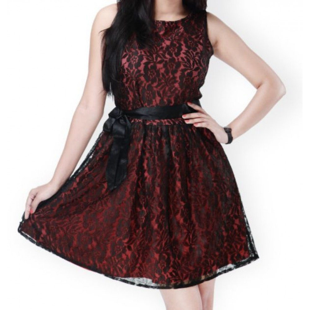 La  Facon-red--black-lace-fit--flare-dress