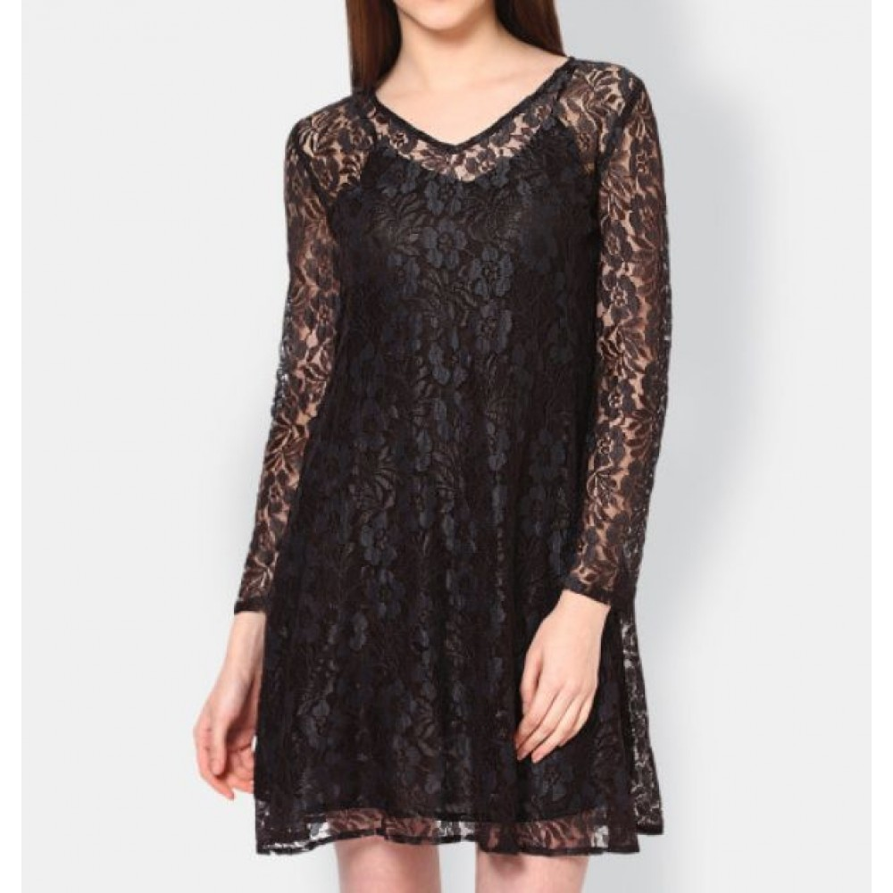 La  Facon-black-lace-a-line-dress
