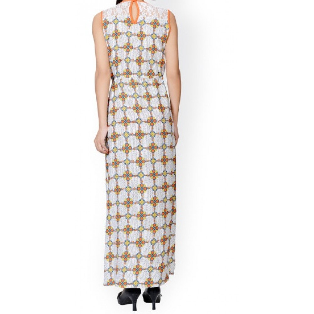 La Facon-Off-White Printed Maxi Dress