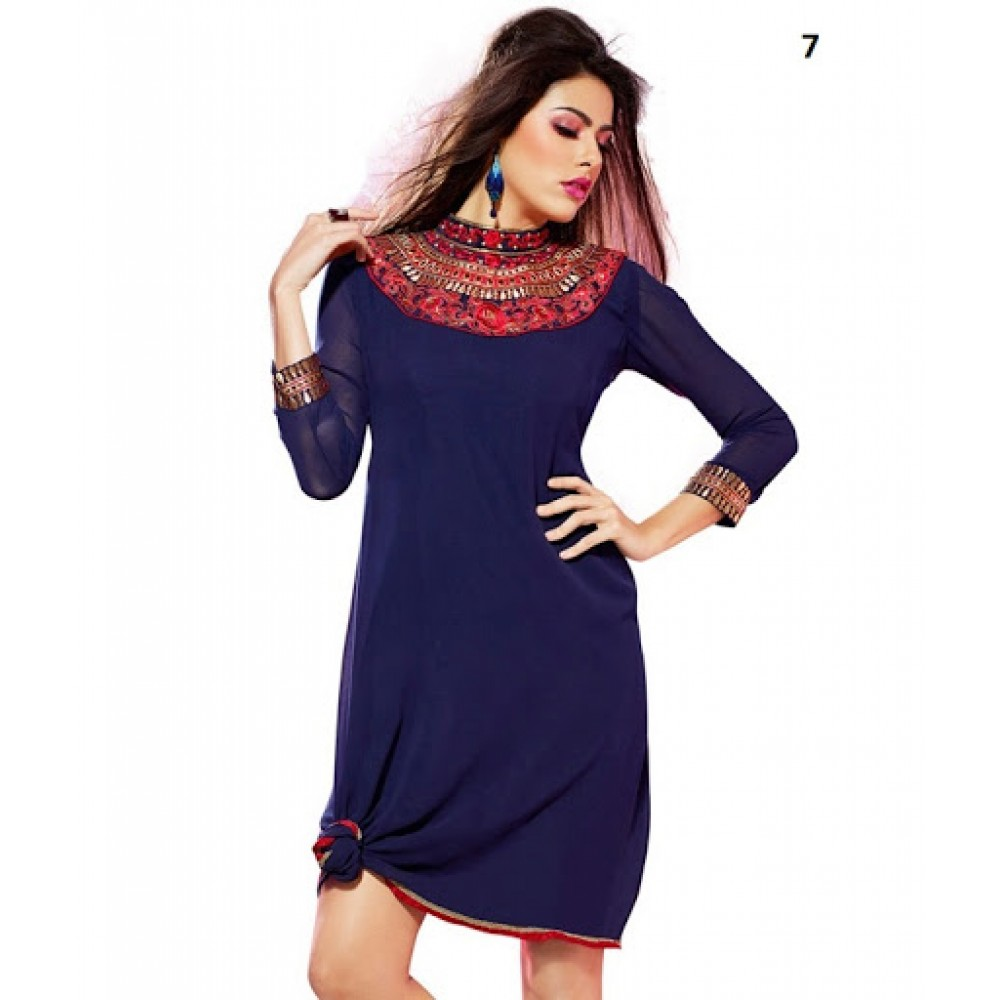 Lafacon Stitched Blue Solid Georgette Kurti