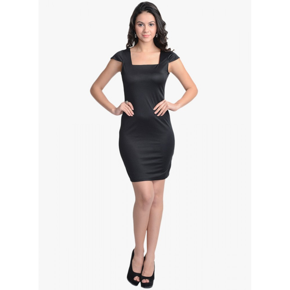 Lafacon-Black-Solid-Bodycon-Dress