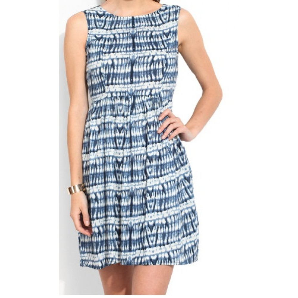 La Facon-blue--white-tie-dye-a-line-dress