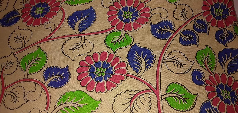Cotton Kalamkari Handblock Saree Blouse/Kurti Fabric 100 cms - Flower Print