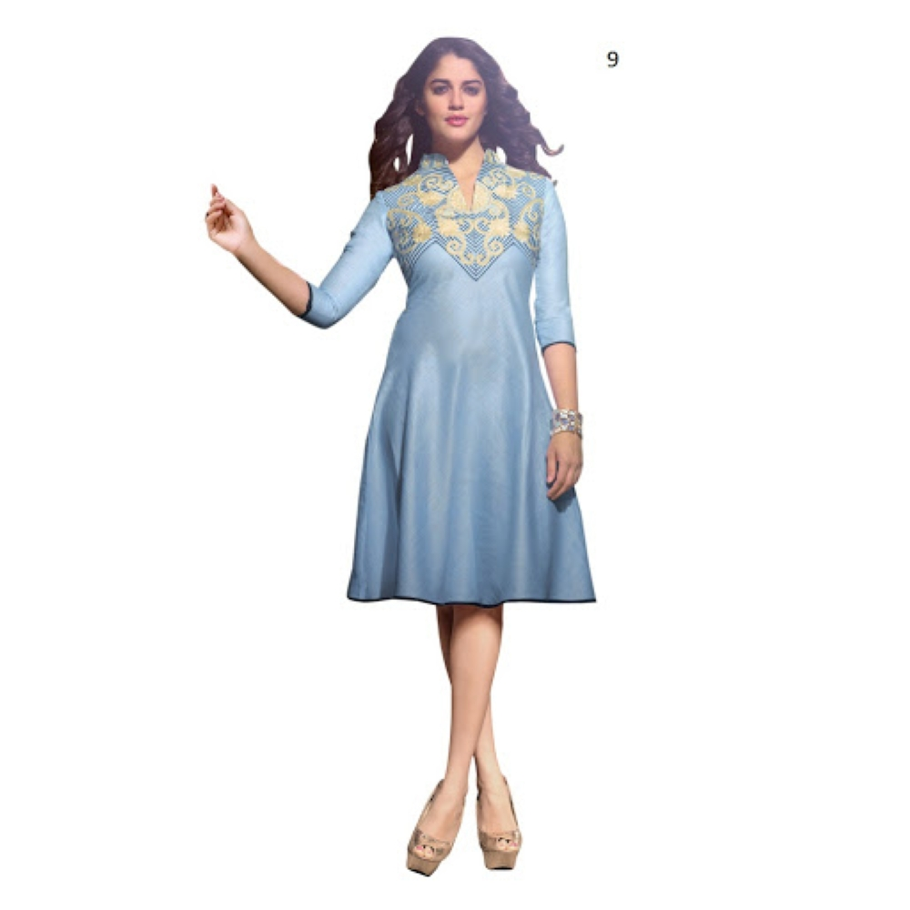 Lafacon Stitched Light Blue Solid Linen Kurti