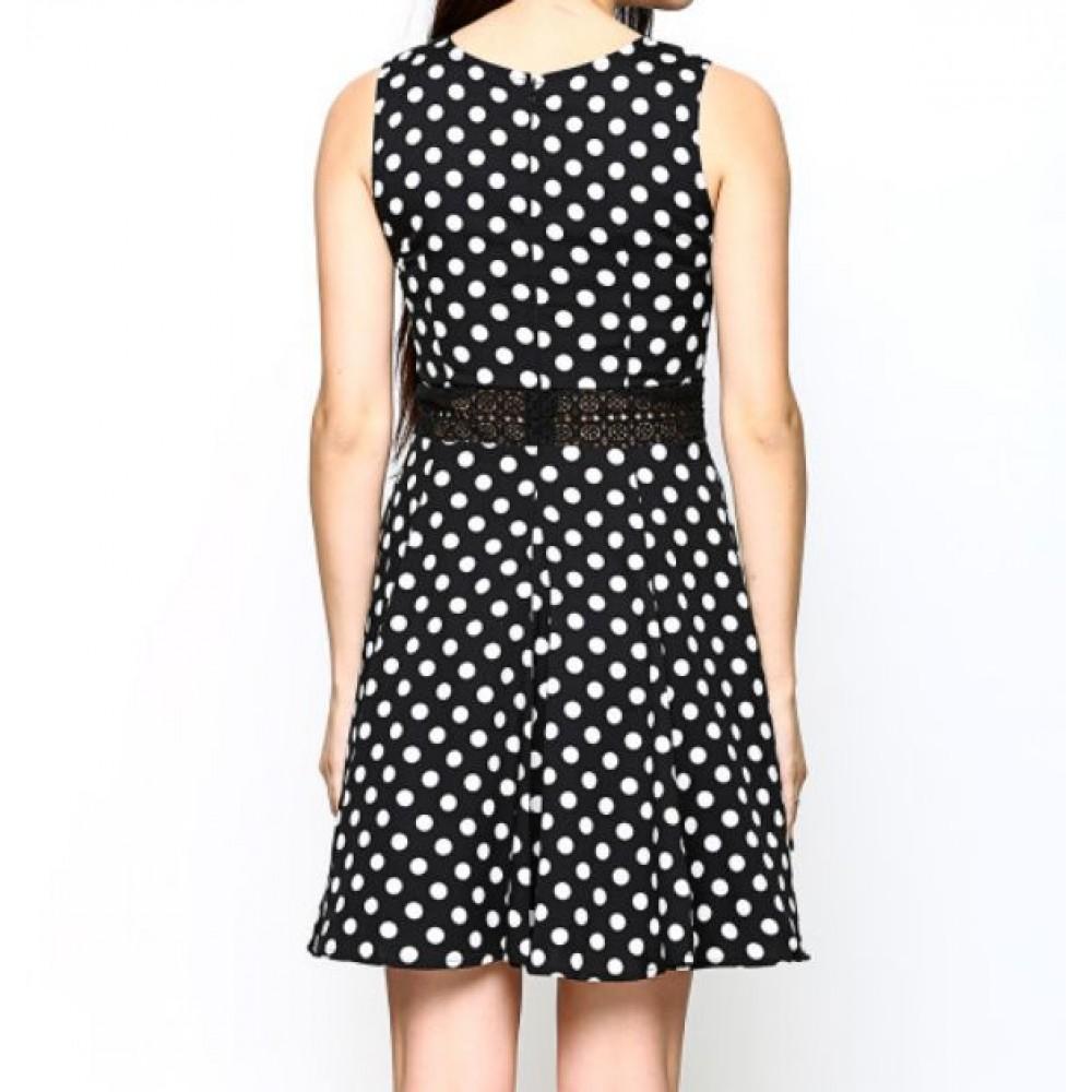 La  Facon-black-polka-dot-print-fit--flare-dress