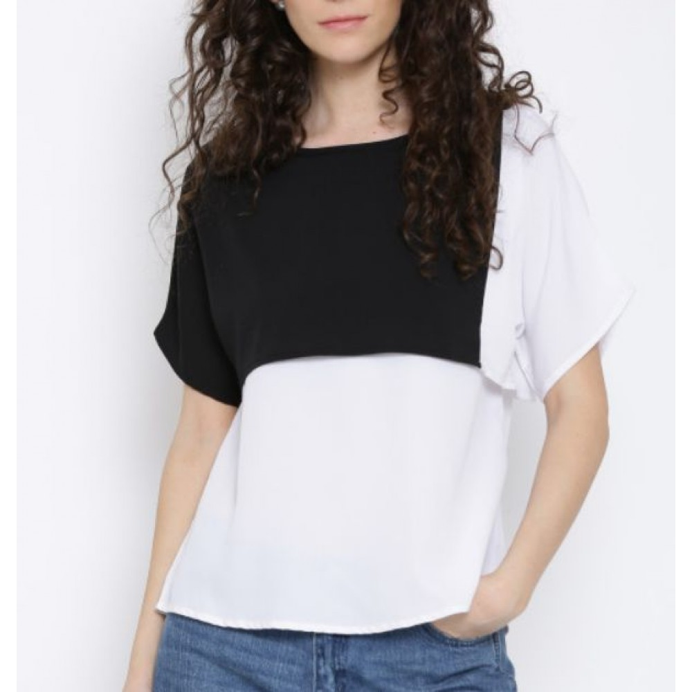 La  Facon-white--black-colourblocked-layered-top