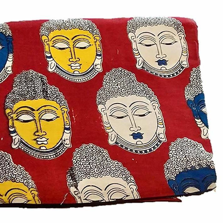Cotton Kalamkari Handblock Saree Blouse/Kurti Fabric 100 cms Red Colour - Budda Print