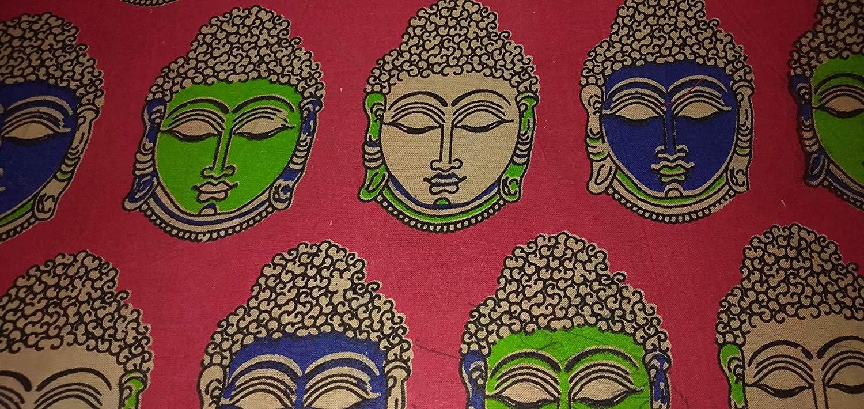 Cotton Kalamkari Handblock Saree Blouse/Kurti Fabric 100 cms Red- Budda Print