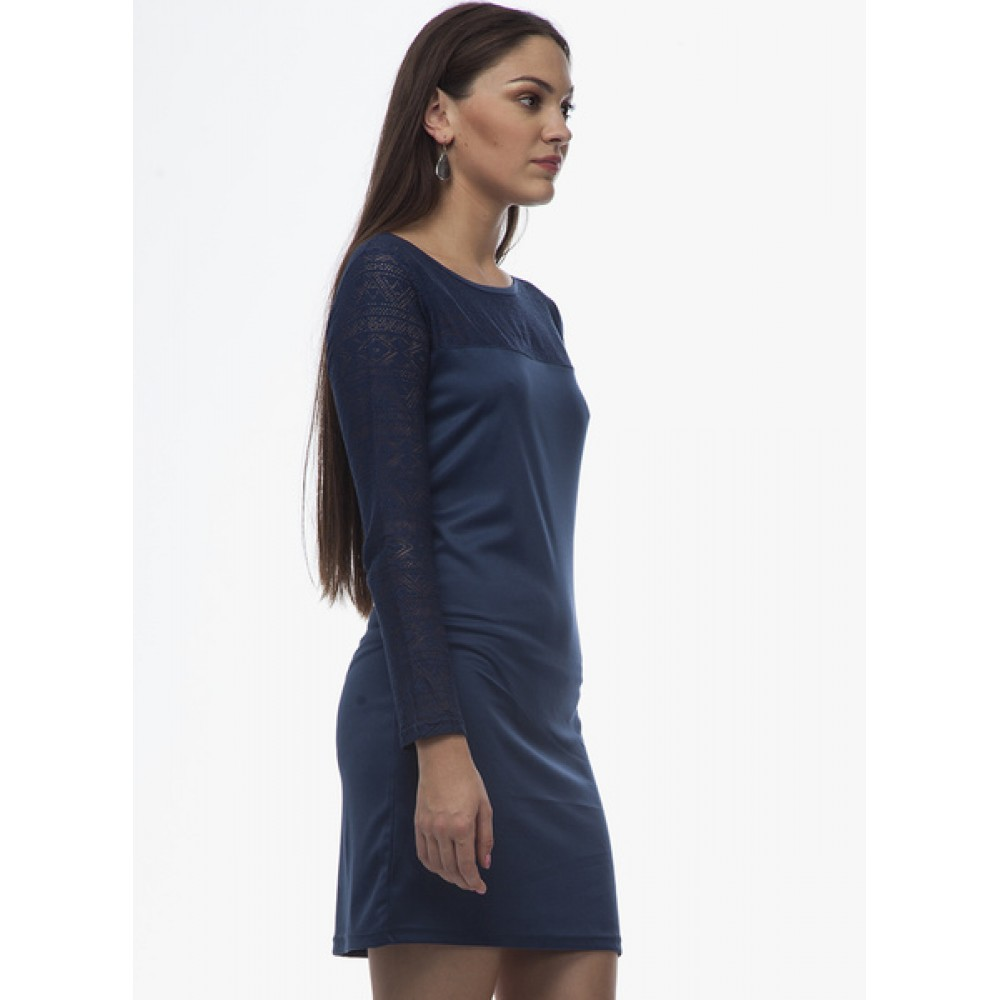 Lafacon-Blue-Colored-Embroidered-Shift-Dress