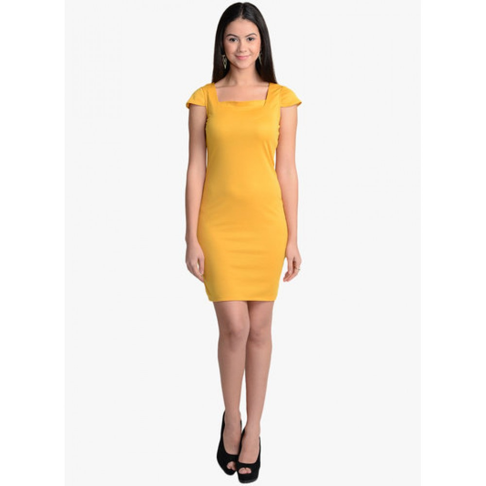 Lafacon-Yellow-Solid-Bodycon-Dress