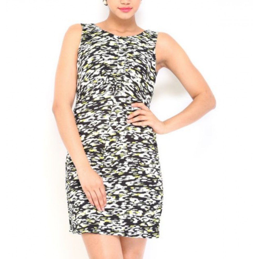 La  Facon-black--yellow-printed-shaper-berry-dress