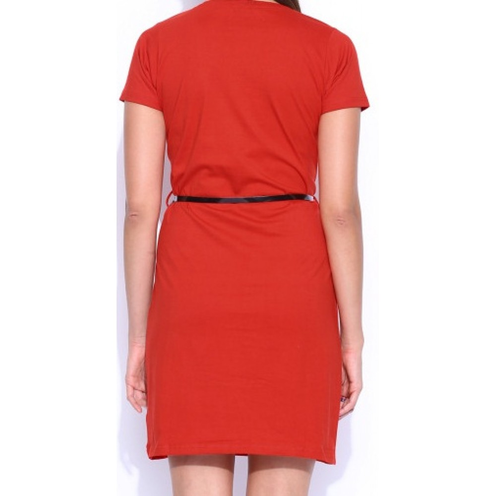 La Facon-Red-Jersey-Dress-With-Belt
