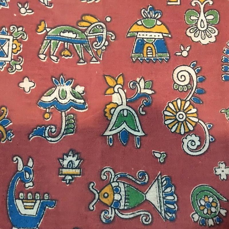 Cotton Kalamkari Handblock Saree BlouseKurti Fabric 100 cms - Bagru Print - Red Colour