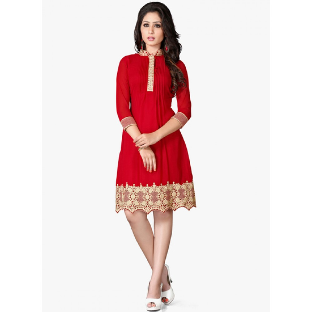 Lafacon Stitched Red Solid Georgette Kurti