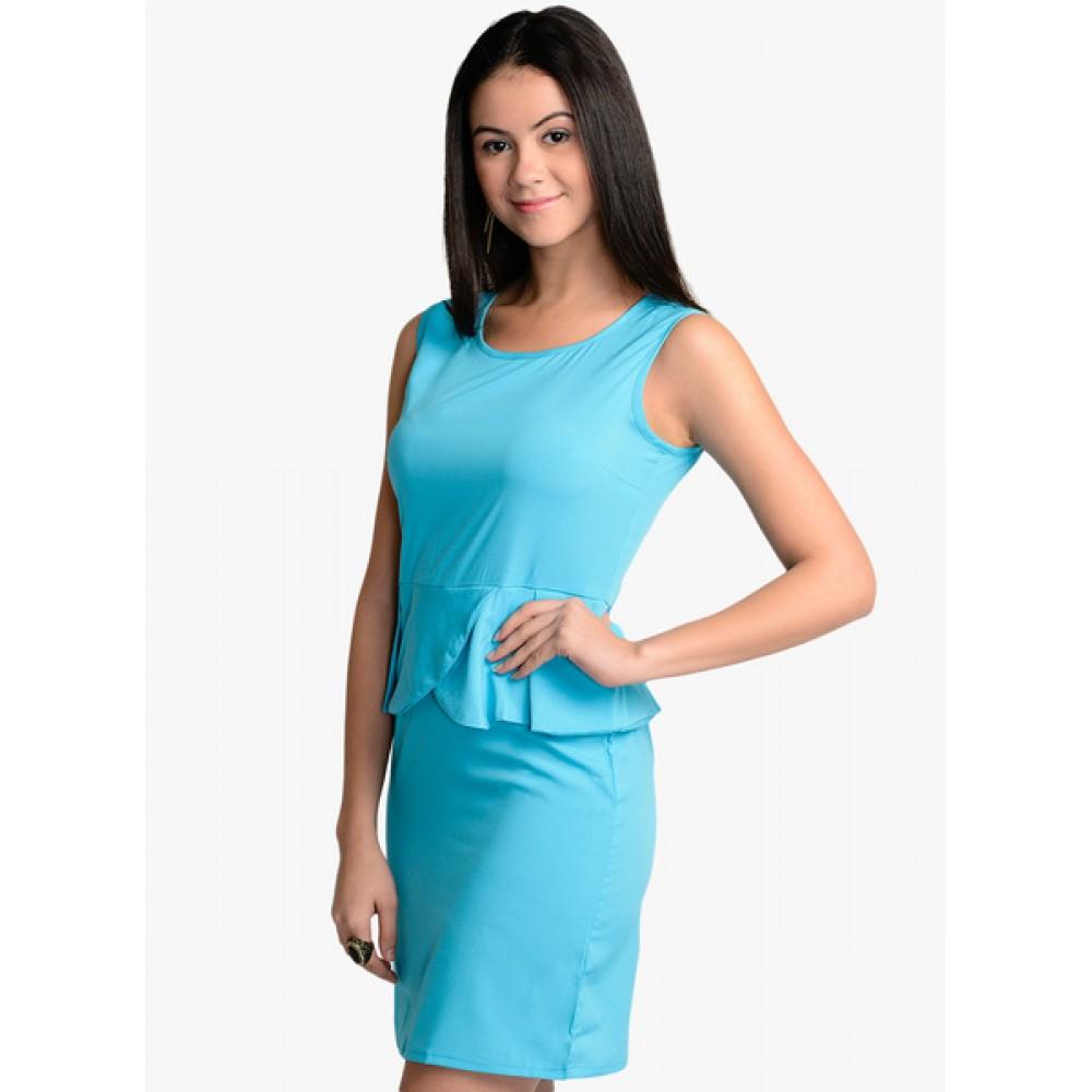 Lafacon-Blue-Solid-Peplum-Dress