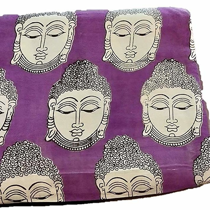 Cotton Kalamkari Handblock Saree Blouse/Kurti Fabric 100 cms Purple Colour - Budda Print