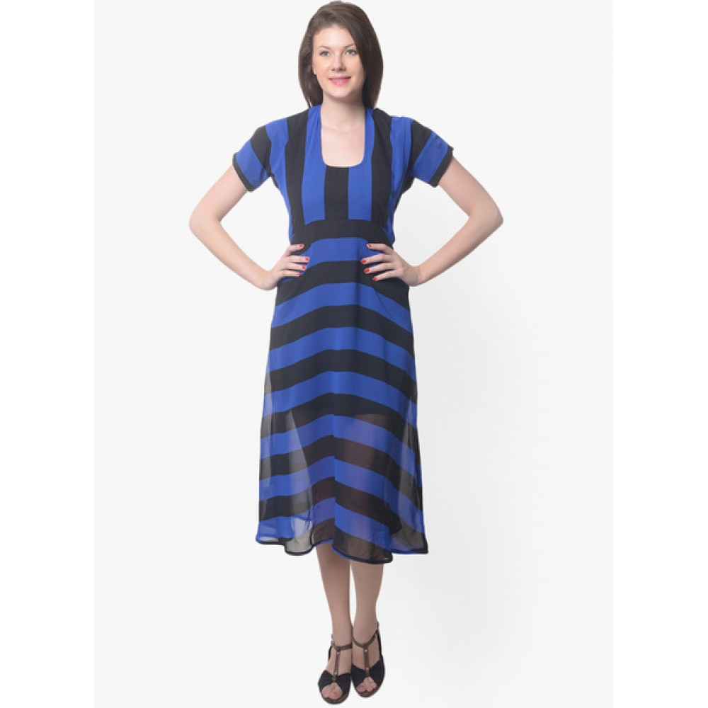 Lafacon-Blue-Colored-Printed-Shift-Dress