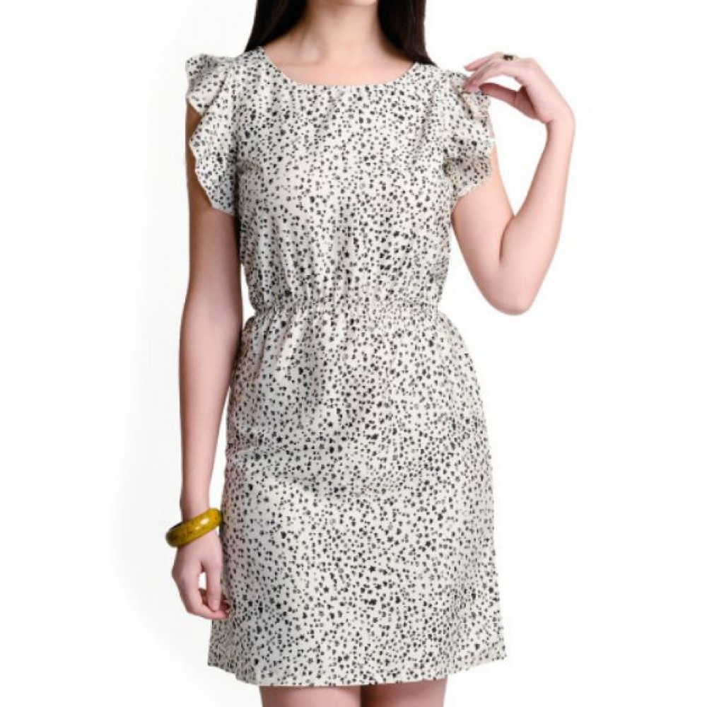 La Facon-white-printed-a-line-dress