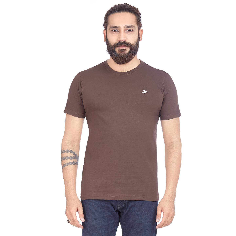 Men's Round Neck T-Shirt- Coffee Brown
