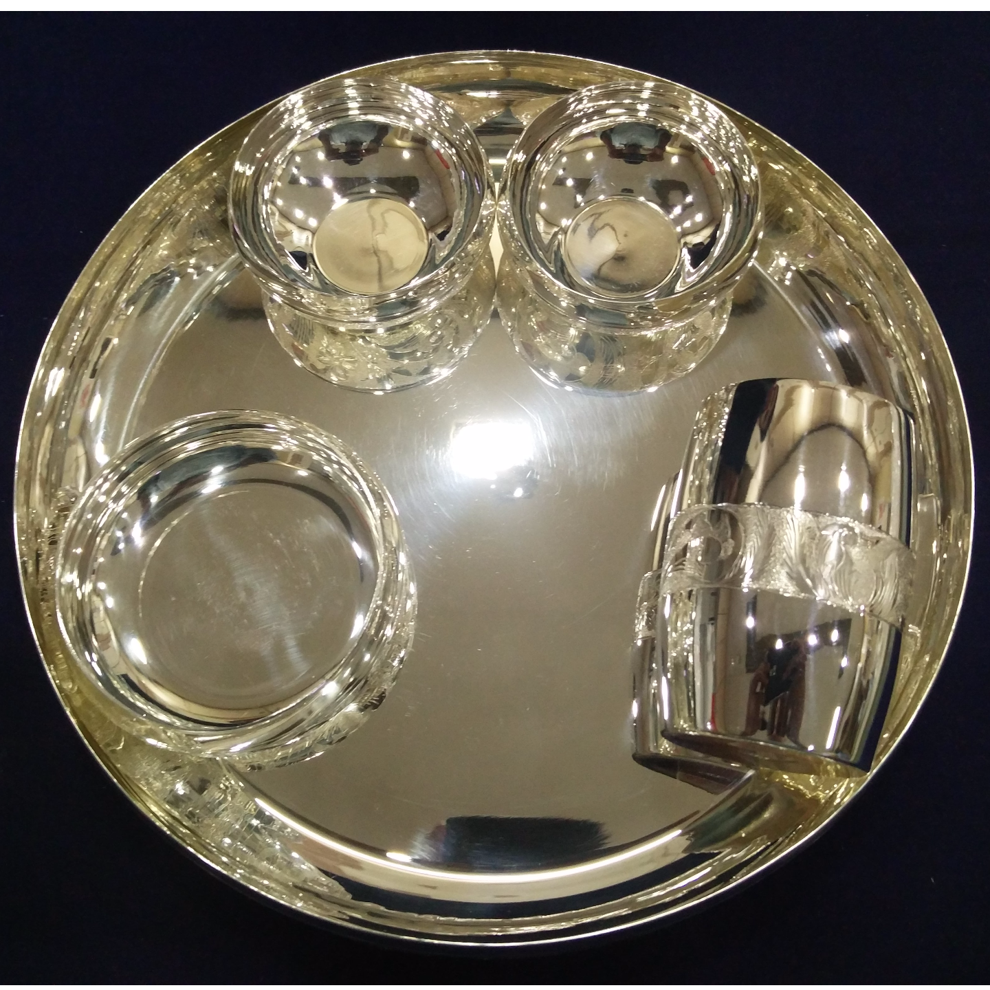 SILVER THALI SET WITH TUMBLER