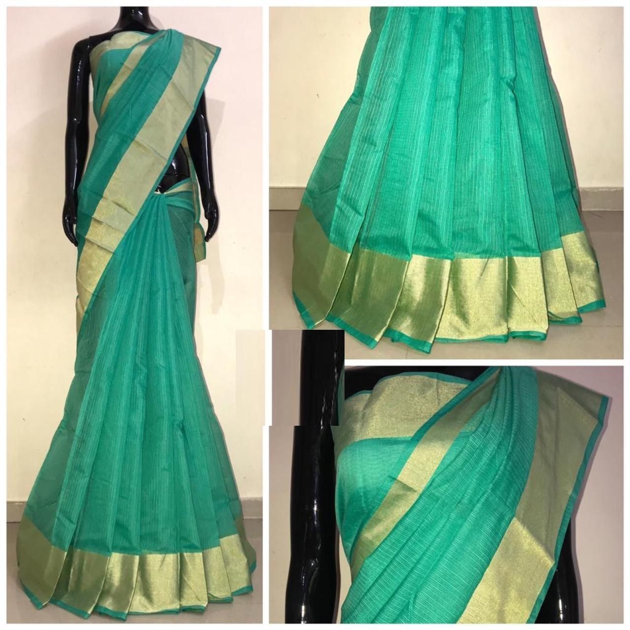 Chanderi Parrot Satin Silk Printed Regular Saree