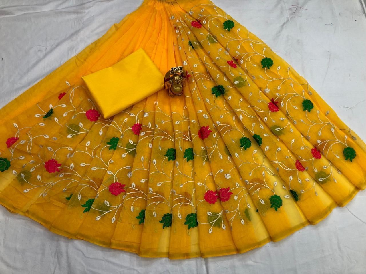 Attractive Yellow Chanderi Cotton Embroidered Regular Saree