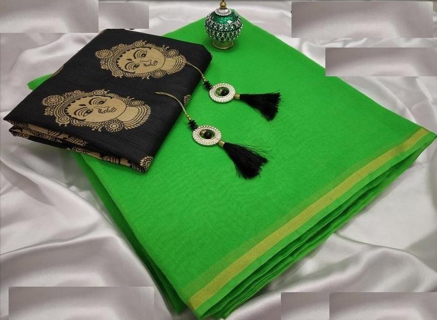 Delightful Green Chanderi Cotton Solid With Border Regular Saree