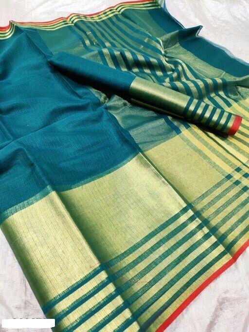 Unique Cotton Solid With Border Saree