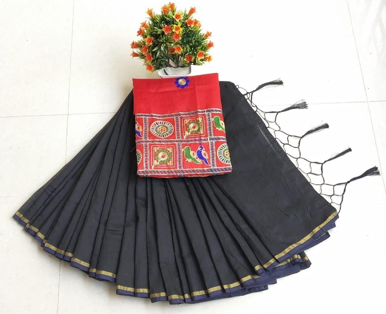 Unique Regular Black Chanderi Cotton Solid Saree